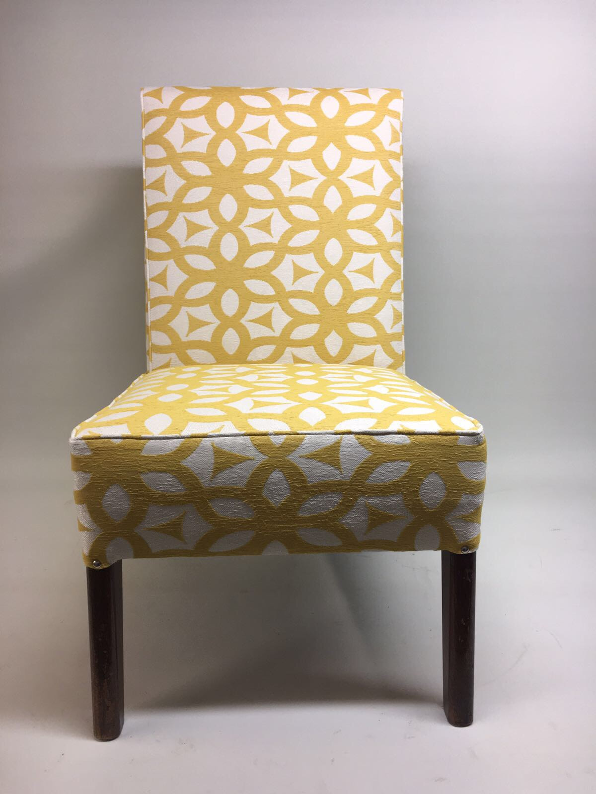 Bedroom Chair Recovered In Marks And Spencer Mustard Geometric Fabric